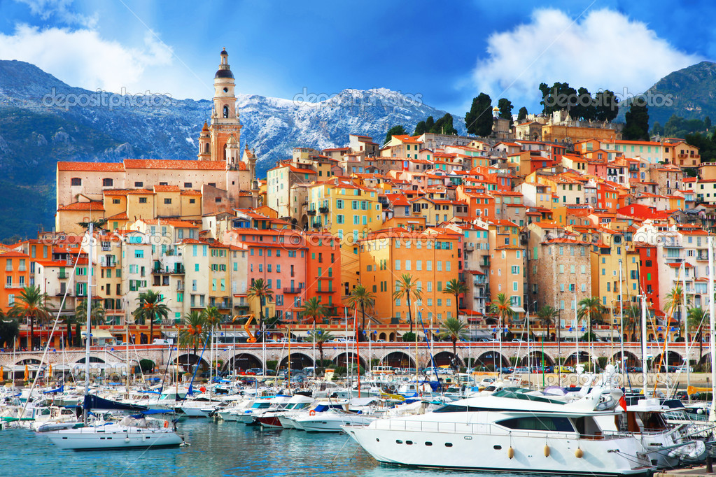 beautiful Menton - colorful port town, border France- Italy